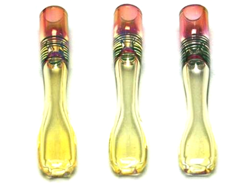 "3.5"" Color Changing Gold Fumed One Hitter/Chillum Pipe (6pcs)"