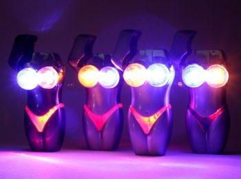 Flashing LED Lights Bikini Refillable Butane Torch Lighter (4pk)