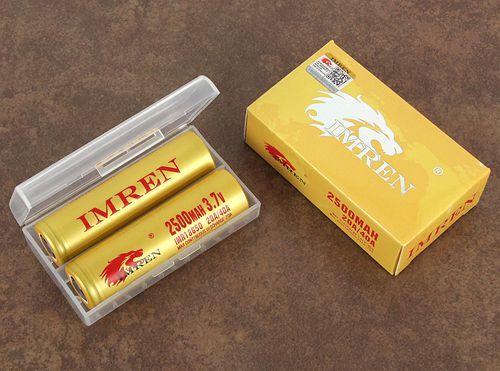 IMREN IMR 18650 20A/40A 2500mAh 3.7V High Drain Flat Top Battery (2PCS W/ Case)