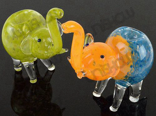 Elephant Frit Glass Pipe (Set of 2)