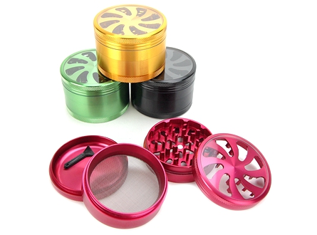 Clear Top 4-Piece Metal Herb Grinder D-2.5""
