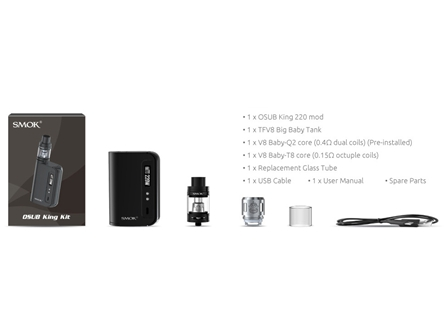 SMOK OSUB King 220W TC & TFV8 Big Baby Starter Kit