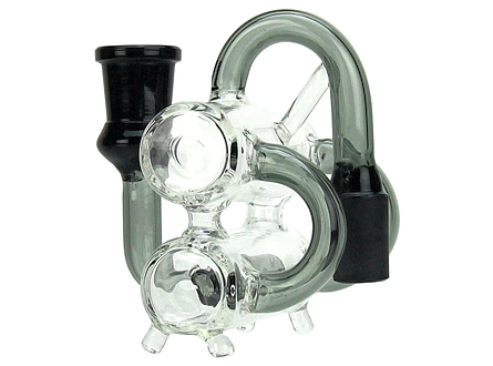 90° Dual Chamber Glass Perc Recycler Ashcatcher 18mm Male/18mm Female