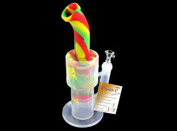 """Waxmaid Crystor C 12"""" Double Layer Perc Silicone Water Pipe"""