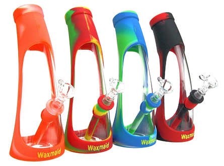"""Waxmaid Horn 9"""" Silicone & Glass Hybrid Water Pipe"""