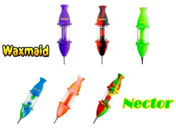 """Waxmaid Nector 8"""" Silicone+Glass+Titanium Nector Collector Wax & Oil Water Pipe"""