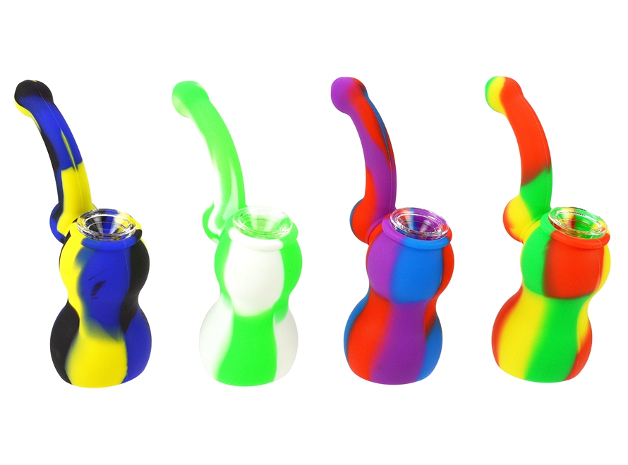 "5"" Mini Silicone Bubbler Water Pipe with Glass Bowl"
