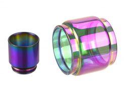 Rainbow 8mL Bulb Pyrex Glass Tube & Metal Drip Tip Set for SMOK TFV12 Prince Tank