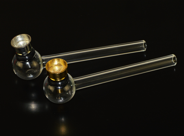 "4.75"" NeverXhale Clear Glass Oil Burner Metal Pipe"